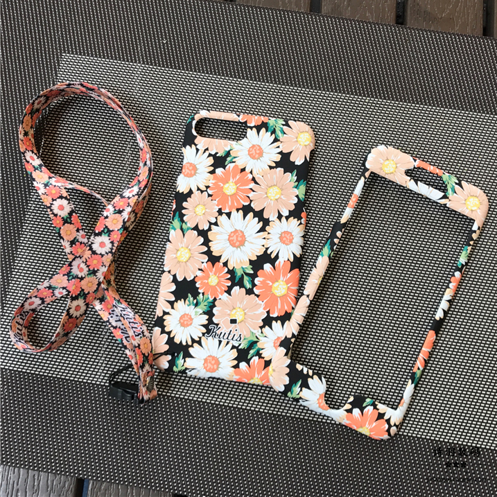For iphone8 8plus Case Daisy 360 full body front back protect cover For iPhone X 6 6splus 7 plus Mobile phone bag + flowers rope