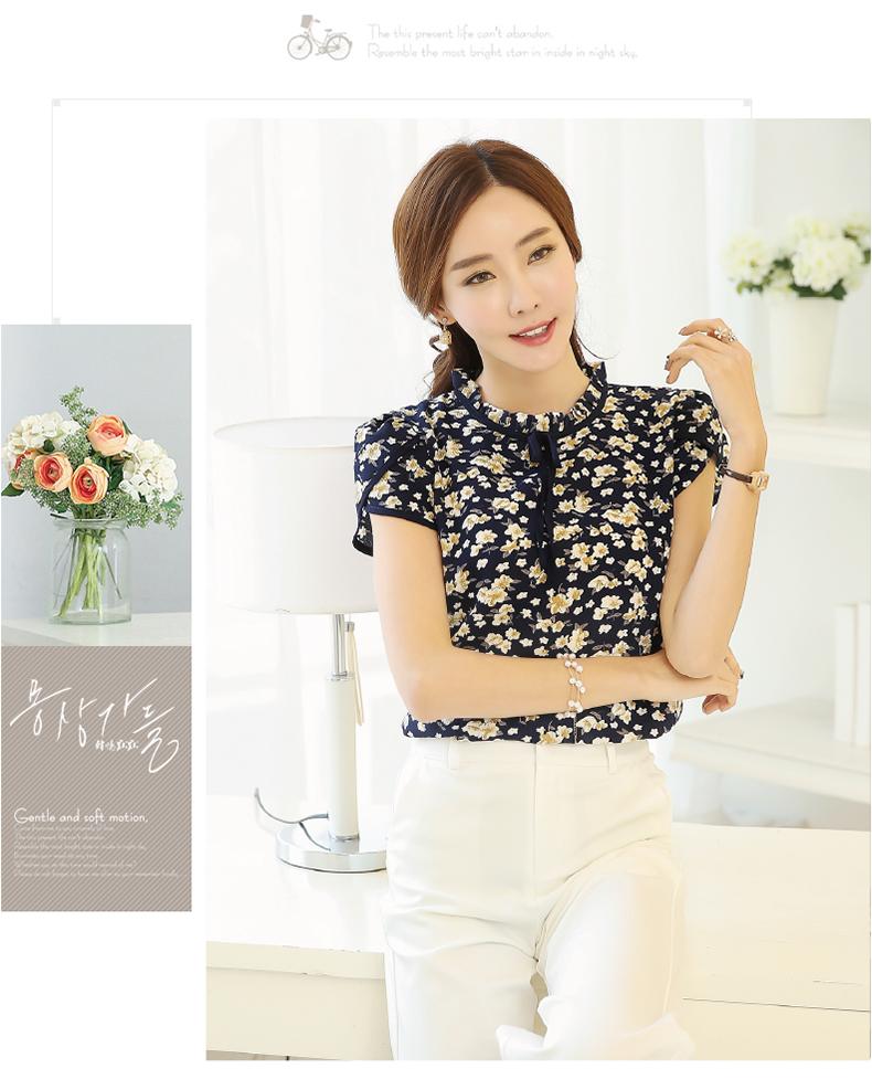 HTB1sbSMPVXXXXaCXFXXq6xXFXXXD - Summer Floral Print Chiffon Blouse Ruffled Collar Bow Neck Shirt