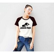 Jurassic Park Anime Shirt Print Raglan Short Sleeve Tshirt Raglaned T shirt Women Harajuku Unicorn Kawaii T-shirt Tee Shirts Cat