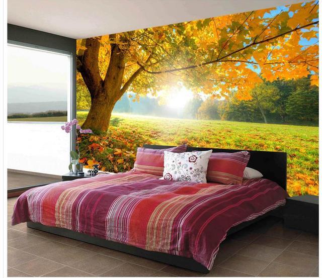Beautiful golden maple trees autumn trees sunshine modern living ...