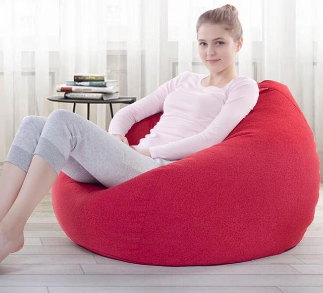 Cover Only No Filler  LARGE Size Adults Linen Bean Bag Chair, Home Sofa  Furniture