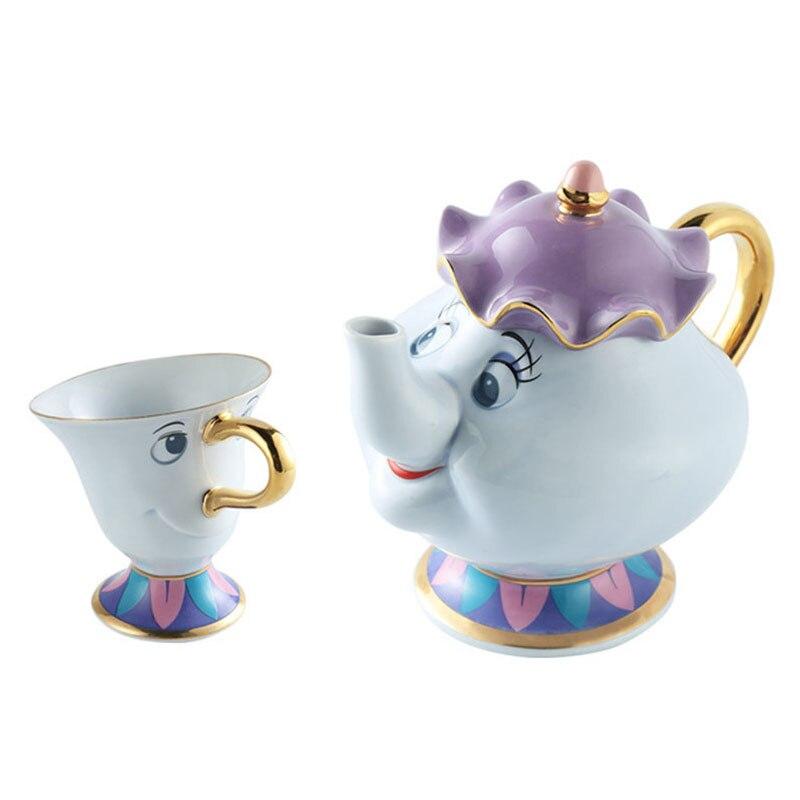 Drop Shipping Cartoon Beauty And The Beast Sugar Pot Teapot Cup Set Mrs Potts Chip Ceramic Diffuser Mug Plate Bowl Xmas Gift
