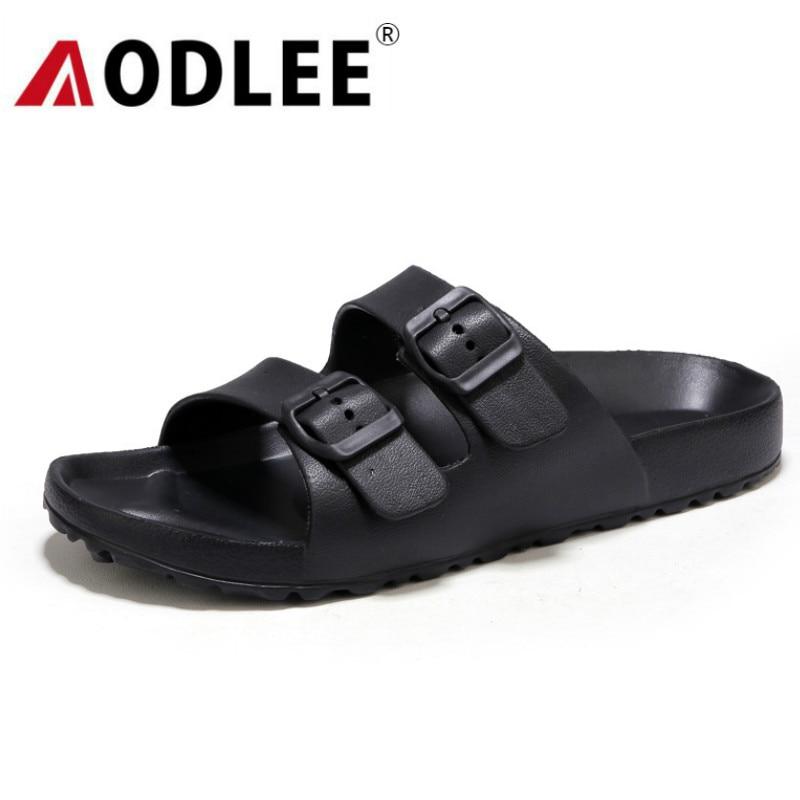 AODLEE размера плюс 45 модные мужские сандалии без шнуровки дышащие брендовые летние пляжные сандалии мужские шлепанцы повседневная обувь sandalias hombre|Сандалии|   | АлиЭкспресс