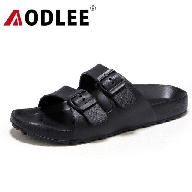 AODLEE حجم كبير 45 موضة الرجال الصنادل الانزلاق على تنفس ماركة الصيف صنادل شاطئ الشرائح الرجال حذاء كاجوال sandalias hombre