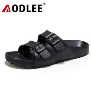 Image 1 - AODLEE Plus Size 45 Fashion Men Sandals Slip On Breathable Brand Summer Beach Sandals Men Slides Casual Shoes sandalias hombre