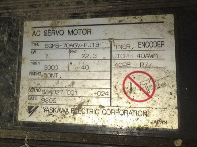 Servo motor SGMS-70A6V-FJ13   ,  Used  one , 90% appearance new , 3 months warranty , fastly shipping Servo motor SGMS-70A6V-FJ13   ,  Used  one , 90% appearance new , 3 months warranty , fastly shipping