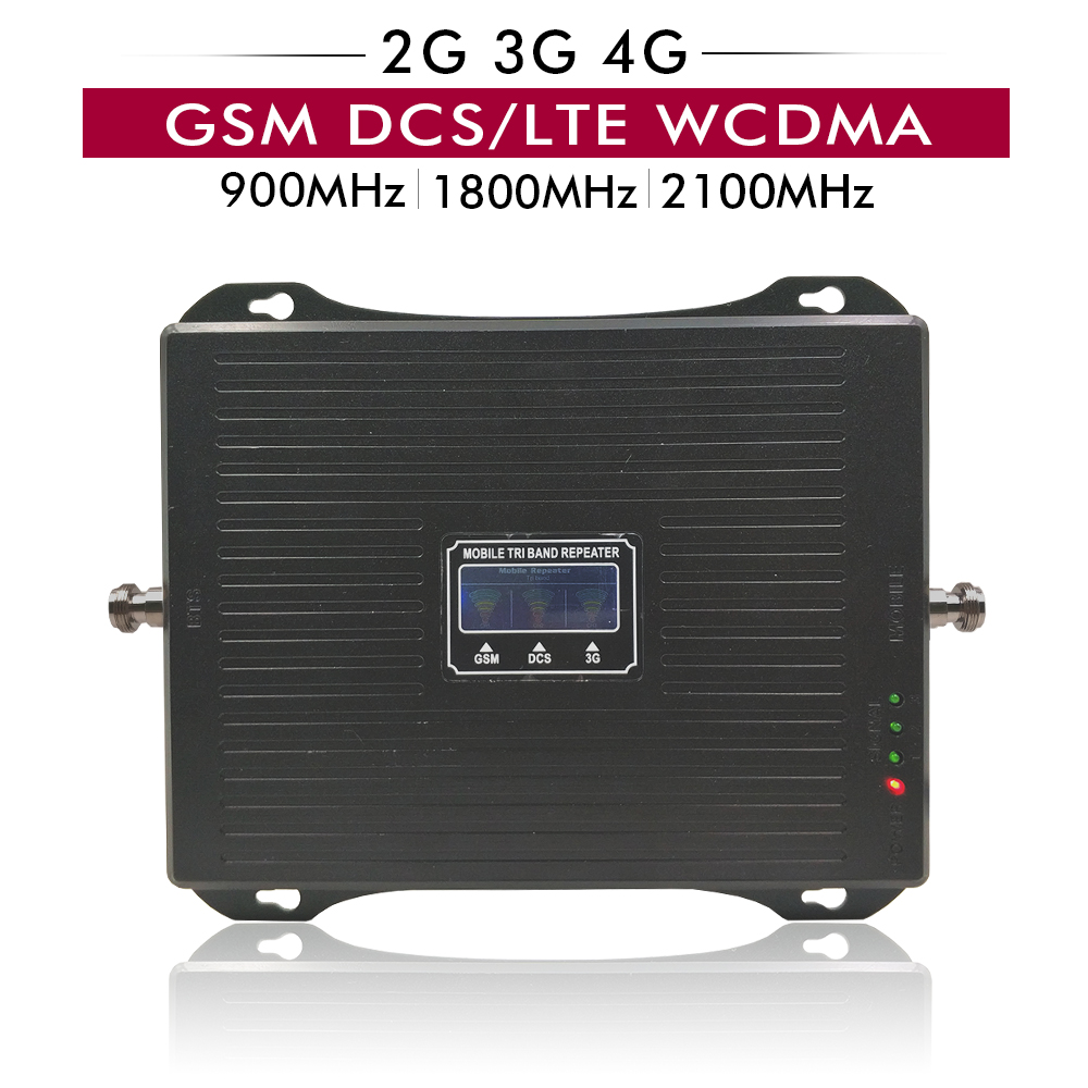 2G/3G/4G Celular Signal Booster Tri Band For GSM 900+DCS/LTE 1800+WCDMA 2100 Mhz Cell Phone Signal Repeater Amplifier 70dB Gain