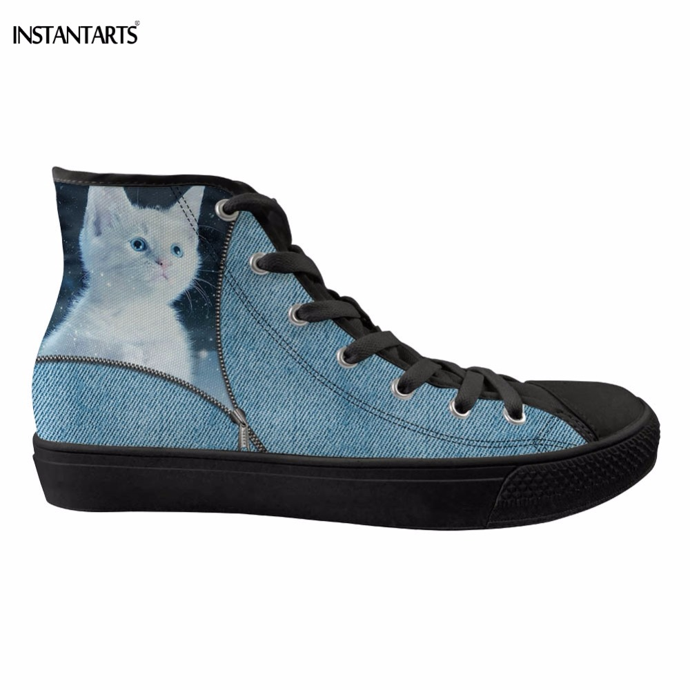 INSTANTARTS Cute Zipper Blue Denim Cat Print Women <font><b>Skateboarding</b></font> <font><b>Shoes</b></font> High Top Canvas <font><b>Shoes</b></font> for Womens Breathable Sports <font><b>Shoes</b></font> image
