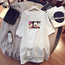 Women Dresses Minnie Mickey Mouse Cartoon Printed Casual Loose White Clothes Big Size Dress Fashion Clothing