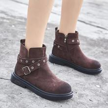 {D&Henlu}Motorcycle Boot 2018 New Autumn Winter Boots Women Shoes Casual Genuine Leather Boots Ankle Flat Heel Belt Buckle