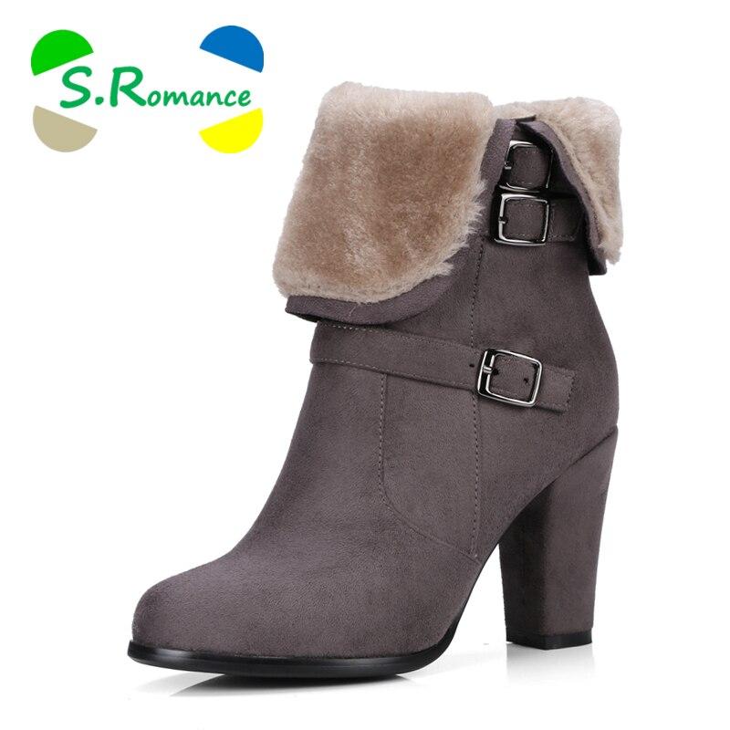 Sb034 SRomance vert Bottes Chaussures Noir Taille Plus Dames Pompes Vert Mode Femmes La Gris Cheville Noir 34 Rond Femme Neige Bout khaki gris 43 lJT3Fc1K