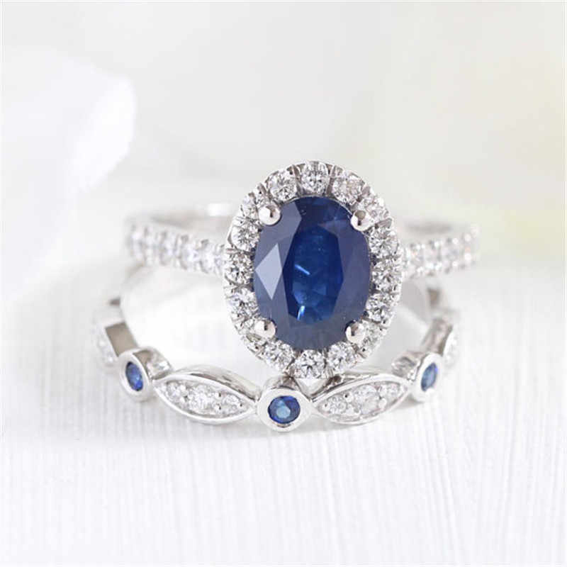 Love Ring Set for Women Jewelry Blue Stone Crystal Rings Charm Silver Luxury Brand Ring Bague Femme Anel Masculino Anel Z3C139
