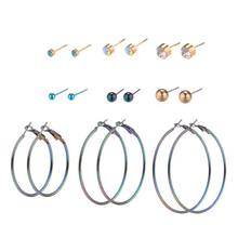 9 Pairs/Set Circle Earrings Rings Circle Ear Stud Rhinestone Gradient Ombre Color Fashion Charms Women Girls Gifts Party Cool Ea(China)