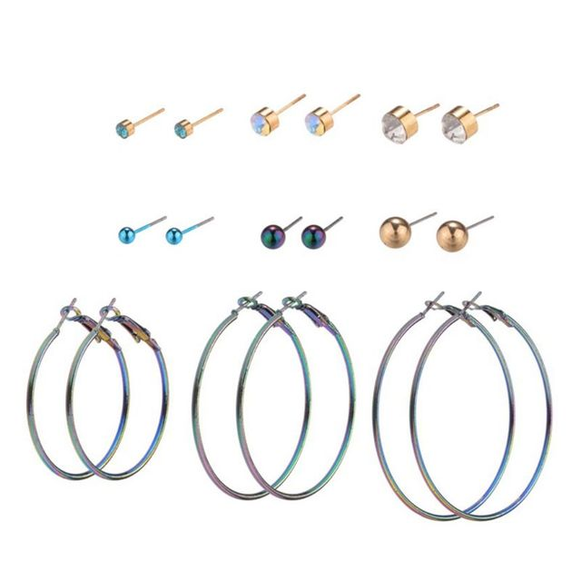 9 Pairs/Set Circle Earrings Rings Circle Ear Stud Rhinestone Gradient Ombre Color Fashion Charms Women Girls Gifts Party Cool Ea