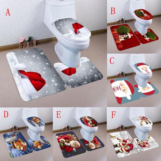 3pcs Bath Toilet Mat Sets Bathroom Christmas Non Slip Pedestal Rug Lid Cover