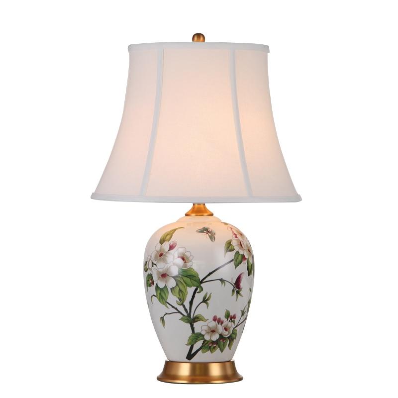 Moderní pastorální svěží elegantní květiny Keramická tkanina vedla E27 stolní lampa pro obývací pokoj Ložnice Svatební výzdoba H 65cm 1082