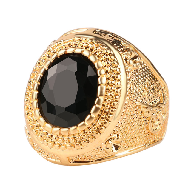 Dubai Gold Color Man Rings Vintage Jewelry Black Red Ancient Word Engraving Resi