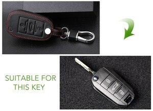 Image 4 - Genuine Leather Car Key Case Cover For Peugeot 107 206 207 208 306 307 308 407 408 508 RCZ For Citroen C2 C3 C4 C5 Good key bag
