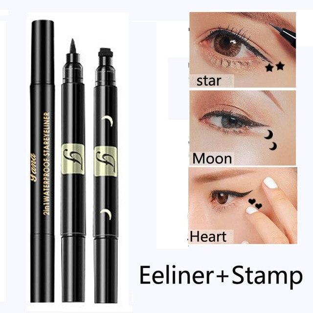 2017 nueva marca ojos delineador líquido maquillaje lápiz impermeable negro doble acabado maquillaje sellos delineador de ojos y estrella/ luna/Corazón