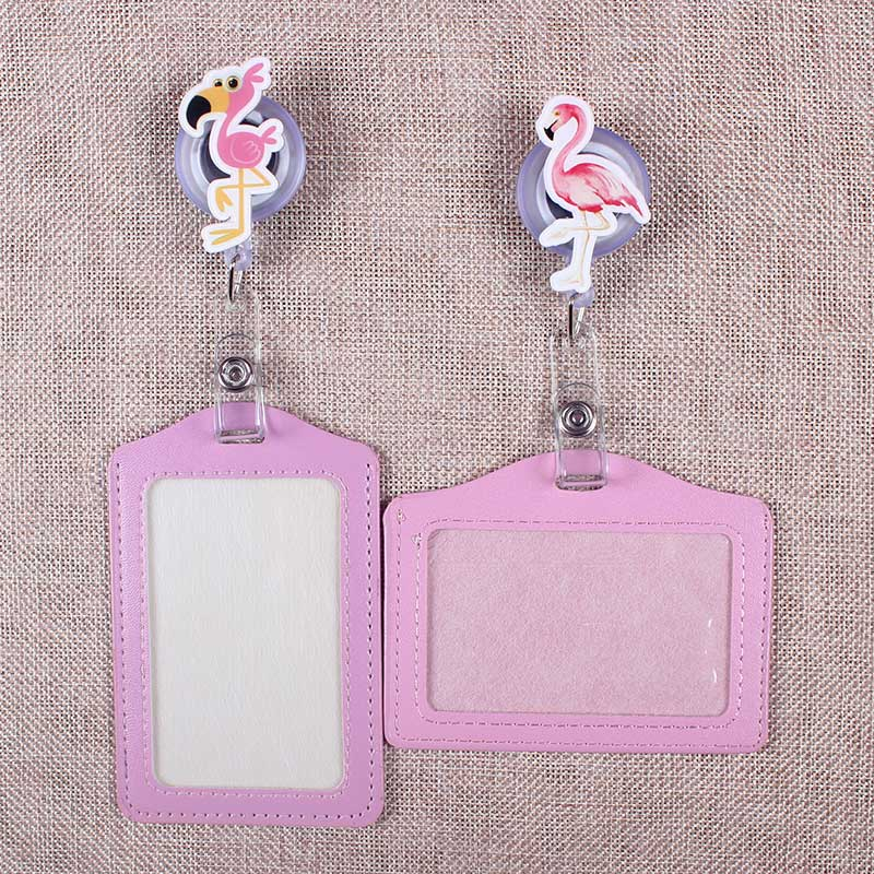 Cute Pink Bird Retractable Creative Flamingo Badge Reel Students Nurse Exhibition Enfermera Name Card Chest Girls PU Card Holder