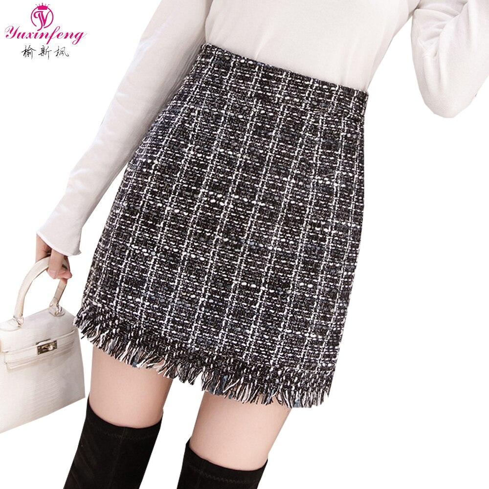Yuxinfeng Noir Abricot Plaid Jupe Mini Taille Haute Femme Jupe Courte Gland Micro Jupes Femmes Zipper Slim Harajuku Bas