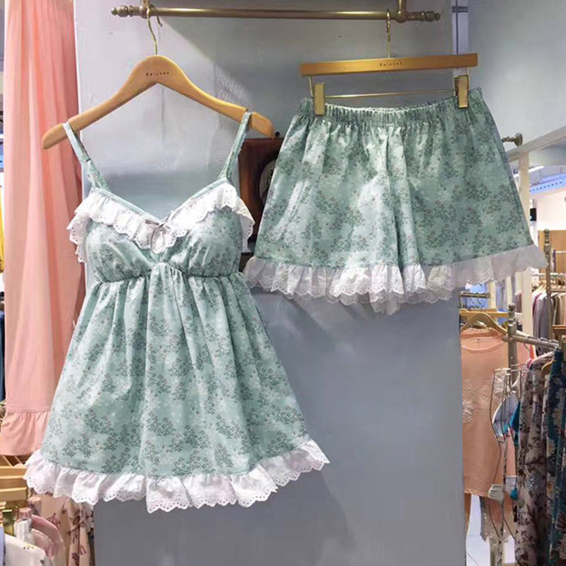 QWEEK 2019 Sexy Women   Pajamas     Set   Sleepwear Cotton Pyjamas Women Summer Soft Pijama Mujer Lingerie 2 Pieces Pj   Set   Pyjama Femme