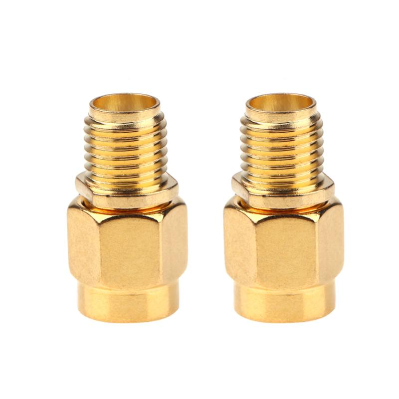 2 Pieces RF SMA Connector RP SMA Female to SMA Male Plug Connector Adapter Goldplated Straight 1pc adapter n plug male nickel plating to sma female gold plating jack rf connector straight