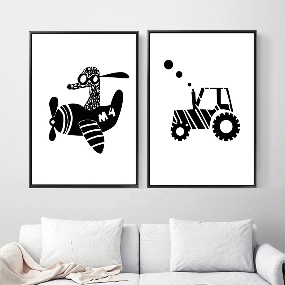 Tractor Car Airplane Black White Scandinavian Wall Art Canvas Painting Nordic Posters And Prints Wall Pictures Kids Room Decor image