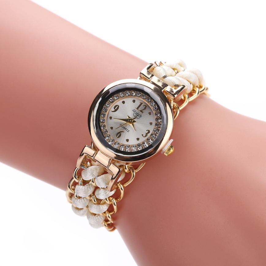 Women Watches Fashion Lady Knitting Rope Chain Winding Rhinestone Dial Bracelet Quartz Wrist Watch relogio feminino Clock #C все цены