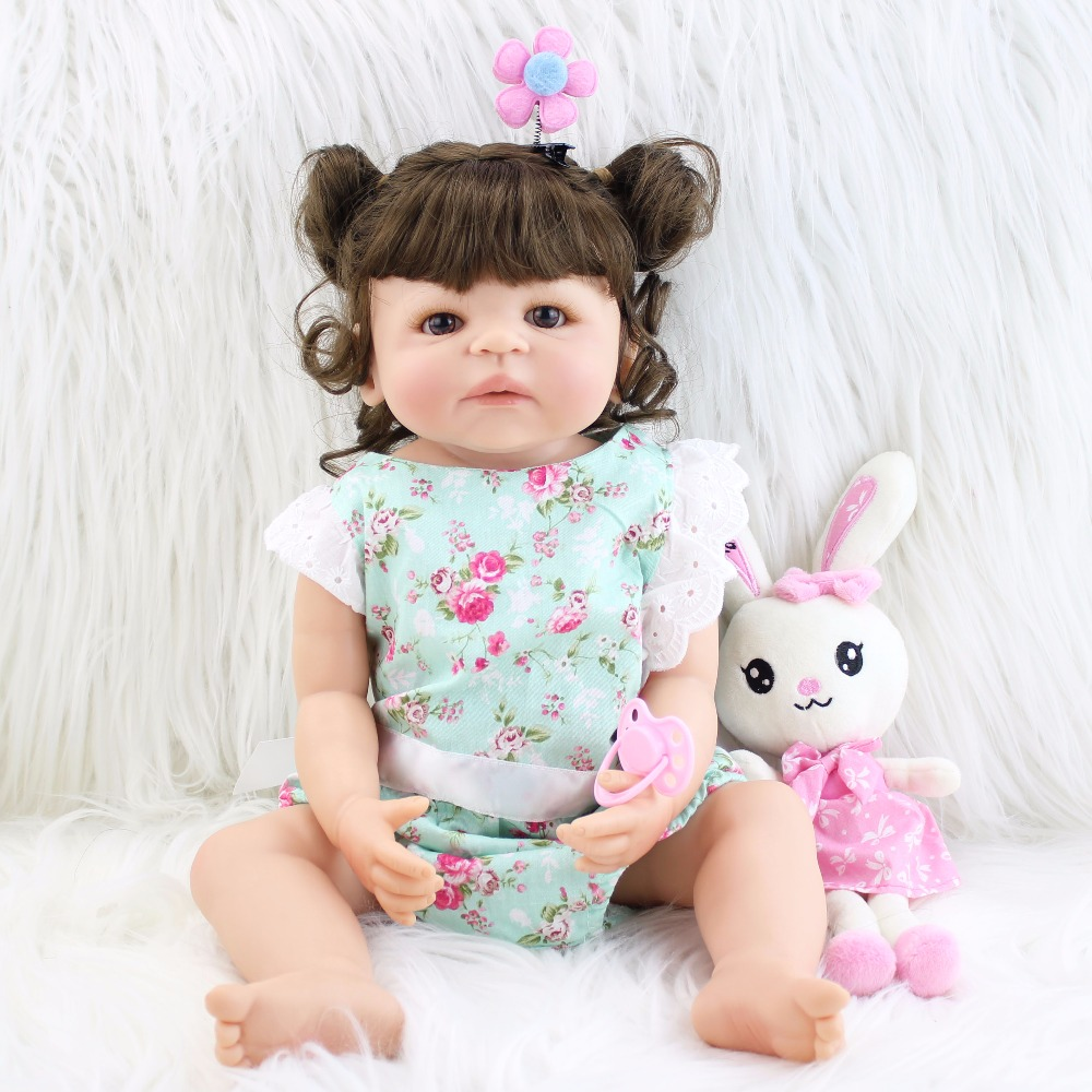 55 см мягкий полный Силиконовый Reborn Baby Doll игрушка винил новорожденных Принцесса Девочка Младенцы с кроликом как живой Bebe детей Boneca Ванна