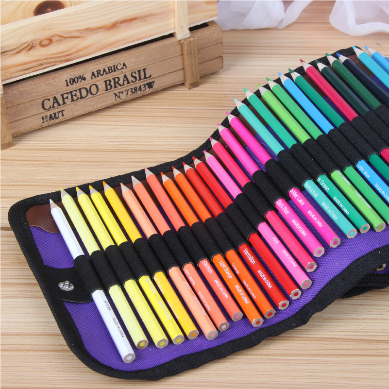 50 Holes Pencil Case+50 colors pencil School Canvas Roll Pouch Makeup Comestic Brown Brush Pen Storage pencil box pen curtain 2 layer 36 holes art pen pencil case box students stationary zipper storage comestic make up brush organizer bag school supplies