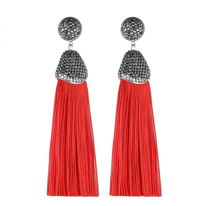 Handmade 14 Colors Long Tassel Earrings Bohemian Black Red Pink White Blue Silk Crystal Dangle Drop Earrings For Women Jewelry