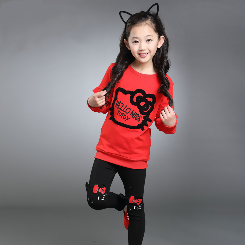 BAHEMAMI 2018 Autumn Girls Set Cartoon Children Tracksuit kids clothing suit baby girls t shirt+pants 2 pcs sets suit 3 Colors kids clothes 2017 autumn winter baby boys girls 3 pcs set children clothing sets child coat t shirt pants suit red black