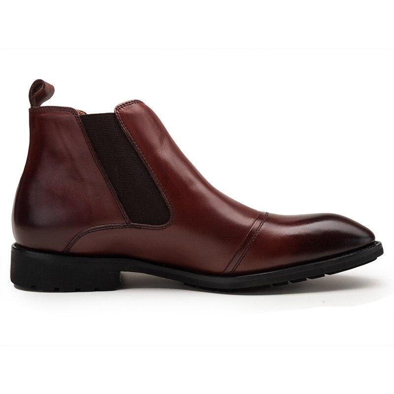 Estilo De marrom Trabalho Chelsea Homens Inglaterra Homem Tornozelo Vestido Preto Sapatos Luxo Genuíno Apontou Qyfcioufu Botas Couro Moda Dos Toe Biqueira 16xvqFwWRY