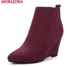 MORAZORA 2017ชี้นิ้วเท้าฝูงธรรมดาเวดจ์รองเท้าข้อเท้าสำหรับผู้หญิงที่สง่างามสัญญาขนาดใหญ่ขนาด34-43พรรคชุดรองเท้า