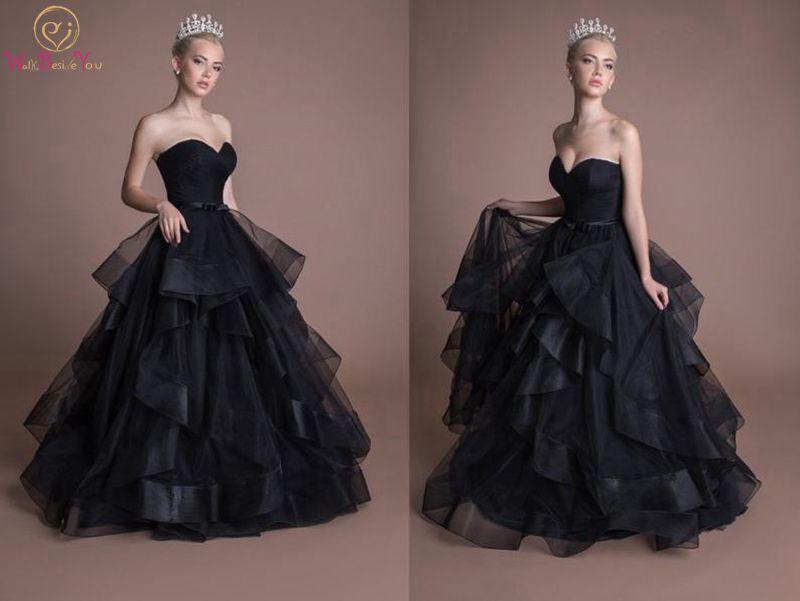 Ruffle Ball Gown Wedding Dress: Fantastic Black Wedding Dresses Sleeveless Ball Gown Lace
