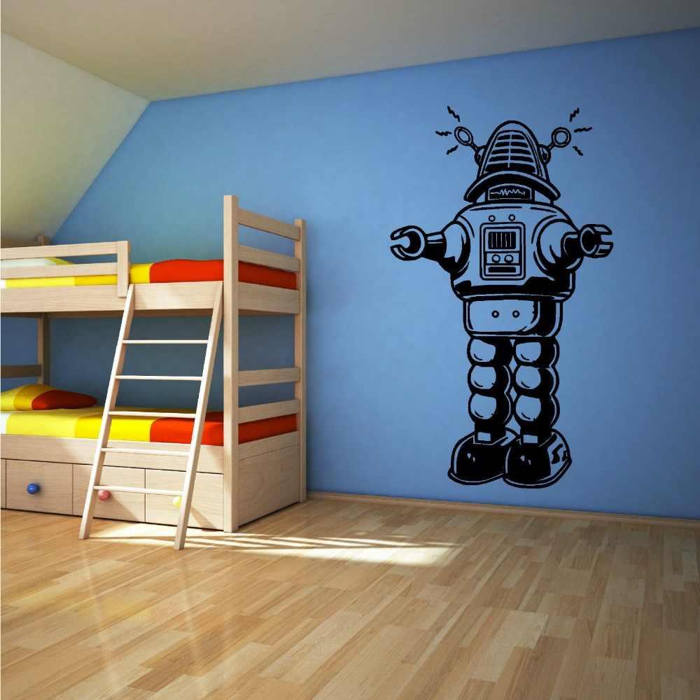 Autocollant Mural en vinyle D528 | Autocollant ROBOT, VINTAGE, STYLE ancien, décoration murale, chambre d'enfants, pépinière, maison