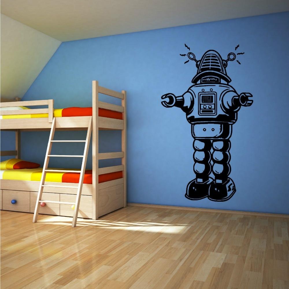 Vintage Style Kids Room: ROBOT RETRO VINTAGE OLD STYLE Vinyl Wall Art Sticker Decal
