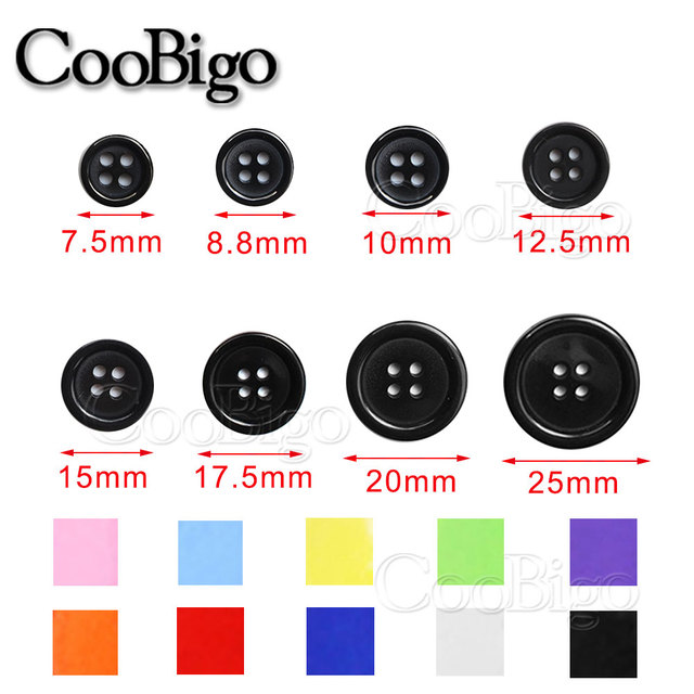 30 ~ 200 piezas coloridas de varios tamaños de resina redonda Mini botones pequeños herramientas botón decorativo para el cuello ropa DIY ropa accesorios