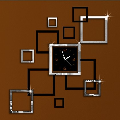 unique home effect frame wall clock modern designsqure wall hours - Unique Wall Designs