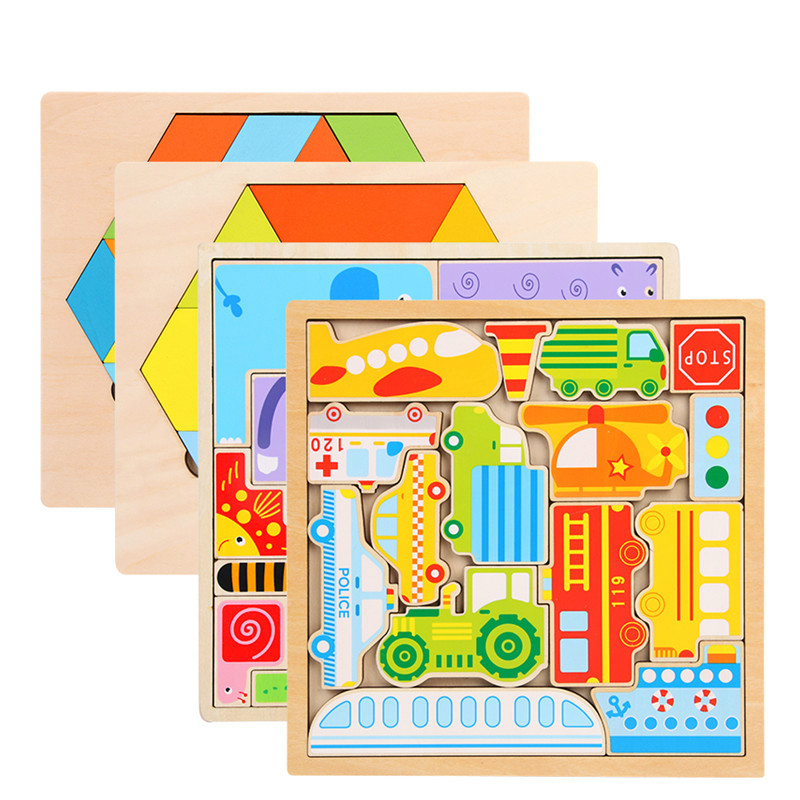 Children Toys Funny Cartoon Puzzles Traffic Animal Jigsaw Puzzle Kids Early Learning Educational Toys for Children Developing in Puzzles from Toys Hobbies