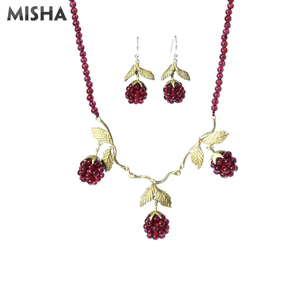 MISHA nouveau ensemble de bijoux à la mode collier boucles d'oreilles pour femmes grenat naturel dames bijoux vin rouge fête collier boucles d'oreilles à la main