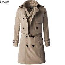 Мода 2017 Aowofs Эксклюзивные высокого класса из двух частей Slim Fit траншеи пальто длинный двубортный джентльмен Британский с талии пояс(China (Mainland))