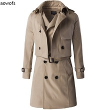 Fashion 2017 Aowofs Exclusive high-end two-piece Slim Fit trench coat  long double-breasted gentleman British with waist belt