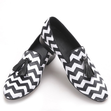 mixed color plaid pattern with black leather tassel men velvet shoes party and wedding men s