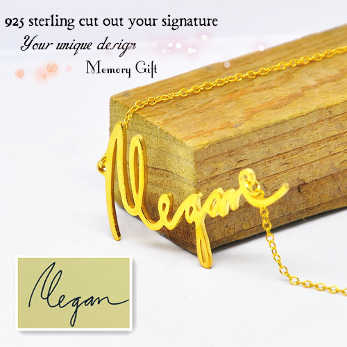 Wholesale Memory Signature font b Necklace b font Gold Personalized Name Pendent 925 Silver font b
