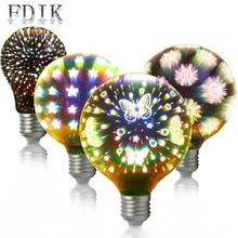 Рождественское украшение светильник E27 4 Вт 3D светодиодный светильник A60 G95 G125 фейерверк бабочка Звездное небо Снежинка ослепительные цветные лампочки Эдисона