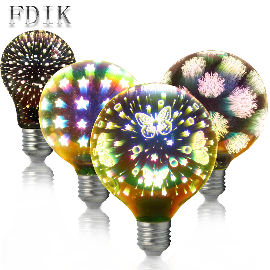 Xmas Decoration Light E27 4W 3D LED Bulb A60 G95 G125 Firework Butterfly Starry sky Snowflake Dazzle Color Edison bulbs dazzle butterfly prints diamond paintings