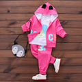 Novo 2017 Primavera Do Bebê Meninas Minnie Conjuntos de Roupas Infantis Ternos de Algodão Casaco Com Capuz + T Shirt + Calças 3 Pcs crianças Crianças Ternos Casuais