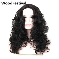 Real Picture Wavy Black Wig Long Curly Wigs For Black Women Synthetic Hair Wigs Heat Resistant